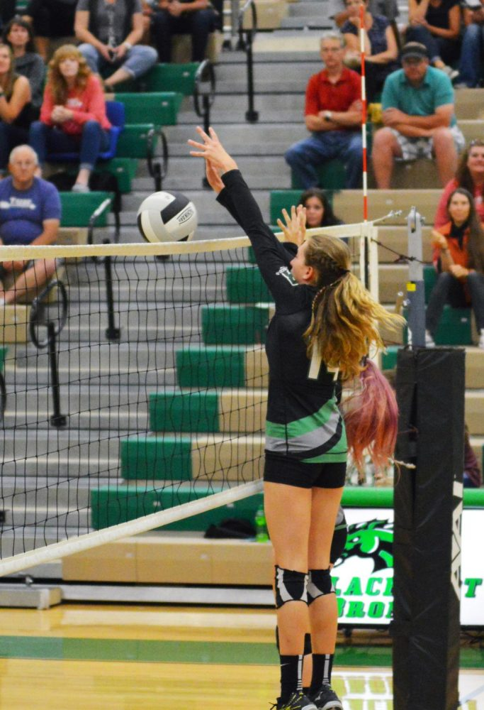SPIKE. Kaitlyn Neff (10) spikes the ball.