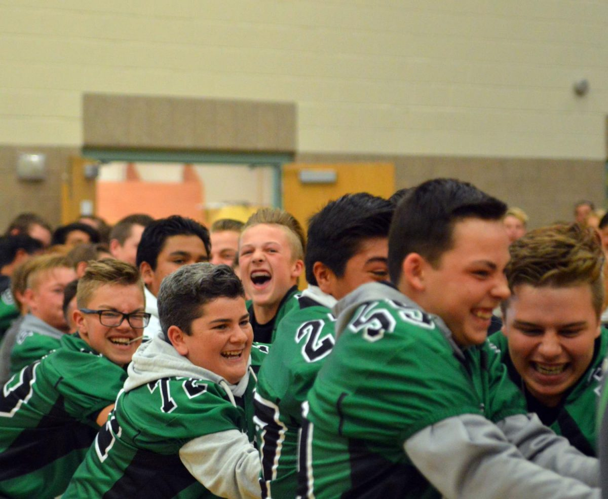 TUG OF WAR. Freshmen boys pull with all their might in the tug of war contest.