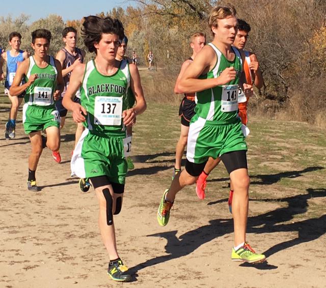 Derek Thomas (12) Nate Blackwelder (10) and Parker Marshall (11) start the race off strong.