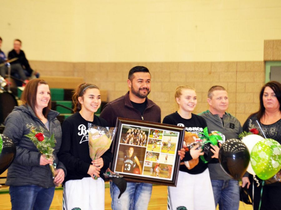 Jordyn+Haxby+%2812%29+and+Sierra+Sanchez+%2812%29+recognized+at+the+Senior+night.+