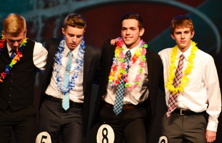 SMILE. Isaac Beck, Nephi Bigler, Jaxson Hintze, and Tyce Robinson line up together after answering questions.