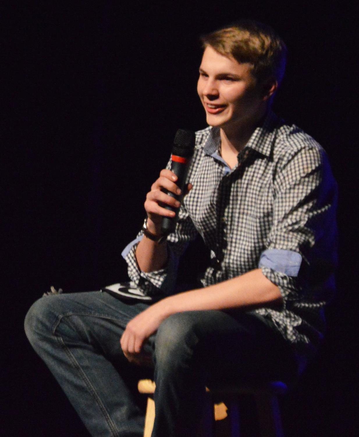 COMEDIAN.+Cameron+Gifford+makes+the+audience+laugh+with+his+comedy+routine.+