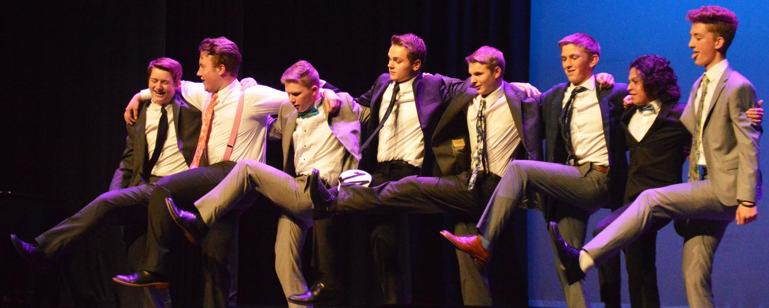 STRUT.+The+boys+strut+their+stuff+in+a+choreographed+dance.